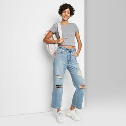 Women's Super-High Rise Distressed Straight Jeans - Wild Fable™ Medium Blue   Target