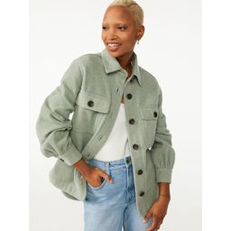 Free Assembly - Free Assembly Women's Shirt Jacket with Gathered Sleeves - Walmart.com   Walmart (US)