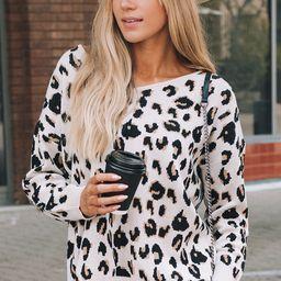 Cream Leopard Sweater | Amaryllis Apparel