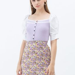 Puff Short Sleeves Buttoned Crop Knit Top in Lilac   Chicwish