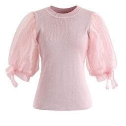 Organza Bubble Sleeves Knit Top in Pink   Chicwish