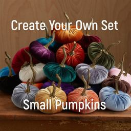 Small Velvet Pumpkins Create Your Own Set, Fall decoration, table centerpiece, rustic wedding dec... | Etsy (US)
