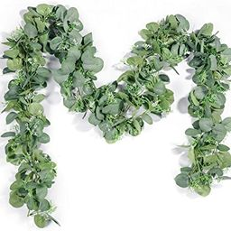 TOPHOUSE 2 Pack Artificial Seeded Eucalyptus Garland, 6.5 Feet Faux Eucalyptus Leaves Greenery Vi... | Amazon (US)