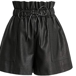 SCHHJZPJ High Waisted Wide Leg Black Faux Leather Shorts for Women | Amazon (US)