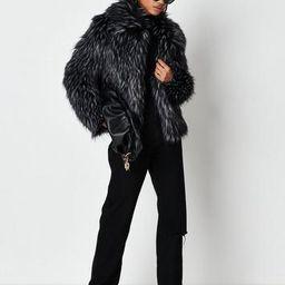 Premium Black Tipped Faux Fur Coat | Missguided (US & CA)