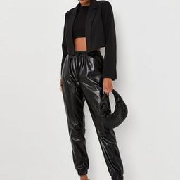 Black Faux Leather Jogger Pants | Missguided (US & CA)