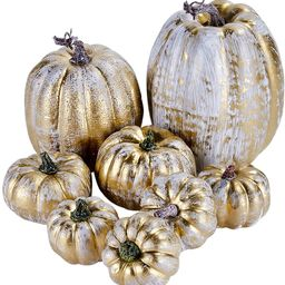 Artmag 8 Pcs Assorted Sizes Harvest Gold Artificial Pumpkins for Fall Halloween Thanksgiving Deco...   Amazon (US)