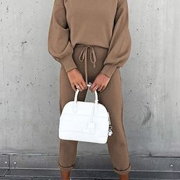 Fixmatti Women's 2 Piece Outfits Long Sleeve Pullover Sweatshirt Jogger Pants Sweatsuit   Amazon (US)