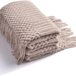 LIFEIN Soft Knit Bed Blanket for Couch - Cozy Woven Fall Lightweight Blanket, Farmhouse Textured ...   Amazon (US)