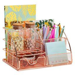 Okuna Outpost Rose Gold Desk Organizer, Pink Metal Office Accessories (8.7 x 5.5 x 5 In) | Target