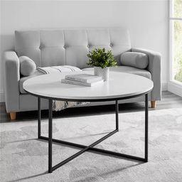 Vivian Glam X Leg Round Coffee Table Faux Marble - Saracina Home   Target