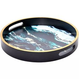 """Juvale 12"""" Round Decorative Serving Tray Coffee Table Ottoman Tray, Black Marble   Target"""