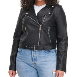 Levi's Plus Size Faux Leather Belted Motorcycle Jacket & Reviews - Women - Macy's | Macys (US)