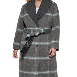DKNY Plus Size Knit-Collar Belted Wrap Coat & Reviews - Coats & Jackets  - Plus Sizes - Macy's | Macys (US)