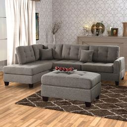 3pc Polyfiber Sectional Set with Plush Cushion Light Brown - Benzara | Target