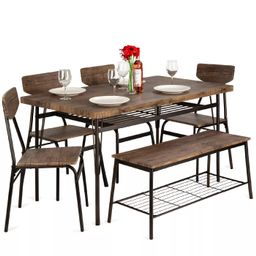 Best Choice Products 6-Piece 55in Modern Home Dining Set w/ Storage Racks, Rectangular Table, Ben... | Target