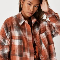 Missguided - Tan Plaid Extreme Oversized Shirt   Missguided (US & CA)
