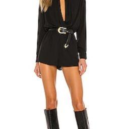superdown Kaycie Drape Neck Romper in Black from Revolve.com | Revolve Clothing (Global)