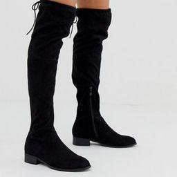 Public Desire Elle flat over the knee boots in black | ASOS | ASOS (Global)