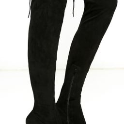 So Much Yes Black Suede Over the Knee Boots | Lulus (US)