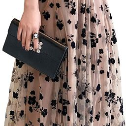 Women Tutu Tulle Skirt Elastic High Waist Layered Skirt Floral Print Mesh A-Line Midi Skirt | Amazon (US)
