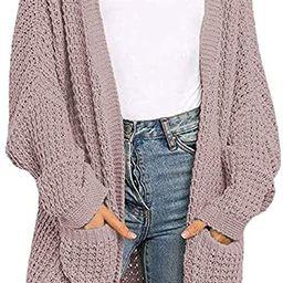 YIBOCK Womens Kimono Long Batwing Sleeve Open Front Chunky Cable Knit Cardigan Sweater   Amazon (US)