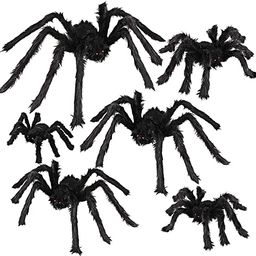 Dreampark Halloween Spider Decorations, 6 Pcs Realistic Hairy Spiders Set, Scary Spider Props for... | Amazon (US)