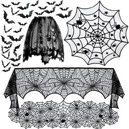 5pack Halloween Decorations Tablecloth Runner Black Lace Round Spider Cobweb Table Cover Fireplac... | Amazon (US)