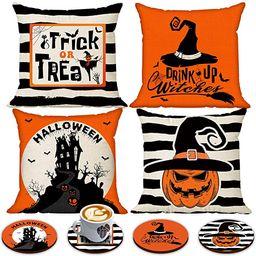 Happy Halloween Pillow Cover 18 x 18 Set of 4 with 4 Bonus Decorative Coasters, Linen Spooky Pump...   Amazon (US)