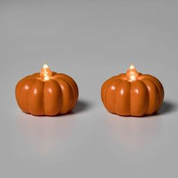 2pk LED Pumpkin Shaped Halloween Tea Lights - Hyde & EEK! Boutique™   Target