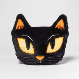 Cat Shaped Faux Fur Throw Pillow Black - Hyde & EEK! Boutique™   Target