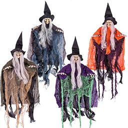 """19.6"""" Halloween Hanging Wicked Witch in multi-color (4 Packs) Halloween Hanging Witch Prop Deco...   Amazon (US)"""