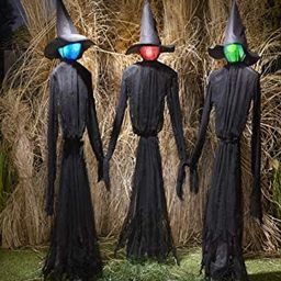 The Lakeside Collection Light-Up Witches Halloween Yard Decorations with LED Lights - Set of 3   Amazon (US)