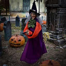 49 Inches Halloween Hanging Vibrating Witch with Light-up Eyes and Scary Sound Effect, Design wit...   Amazon (US)