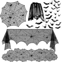 5 Pack Halloween Decorations Tablecloth Set, Black Lace Table Runner Round Spider Cobweb Table Cover | Amazon (US)