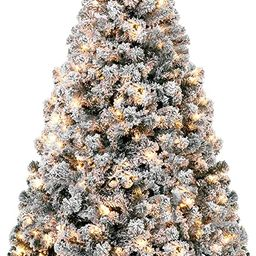 Best Choice Products 9ft Pre-Lit Snow Flocked Artificial Holiday Christmas Pine Tree for Home, Of... | Amazon (US)