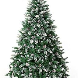 Artificial Christmas Tree 5/6/7/7.5/8/9 Foot Flocked Snow Trees with Pine Cone Decoration Unlit | Amazon (US)