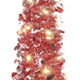 HMASYO Pop Up Tinsel Christmas Tree with Lights - 5 Foot Sequin Artificial Christmas Pencil Trees... | Amazon (US)