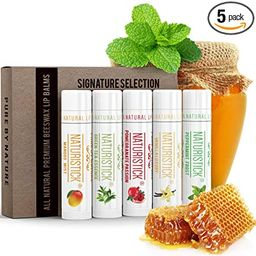 5-Pack Lip Balm Gift Set by Naturistick. Assorted Flavors. 100% Natural Ingredients. Best Beeswax...   Amazon (US)