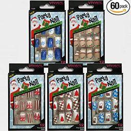 Vivace 5Pack 60tips Press On Christmas Novelty Nails, Sticker Nails (Tree)   Amazon (US)