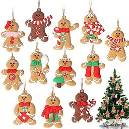 GuassLee 12 Pack Gingerbread Man Ornaments for Christmas Tree Decorations, 3 inch Tall Gingerman ...   Amazon (US)