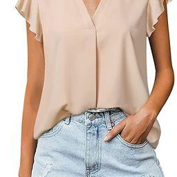 Gaharu Women's Notch V Neck Short Sleeve Chiffon Shirts Casual Lace Blouse Top   Amazon (US)