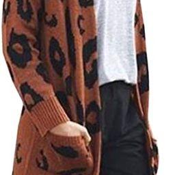 Angashion Women's Long Sleeves Leopard Print Knitting Cardigan Open Front Warm Sweater Outwear Co...   Amazon (US)