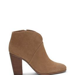 VINCE CAMUTO FRANELL- NOTCHED LEATHER BLOCK HEEL BOOTIE | Vince Camuto