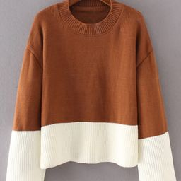 Two Tone Ripped Knit Sweater | SHEIN