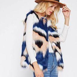 Colorful Faux Fur Vest | SHEIN