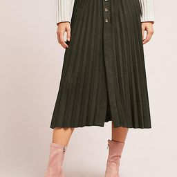 Pleated Button-Front Midi Skirt | Anthropologie (US)