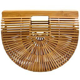 Miuco Womens Bamboo Handbag Handmade Large Tote Bag Size Large | Amazon (US)
