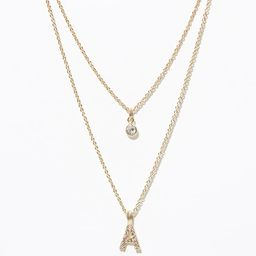 Layered Pave Initial Necklace | LOFT