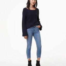 Petite Modern Skinny Chewed Hem Jeans in Bright Mid Indigo Wash   LOFT